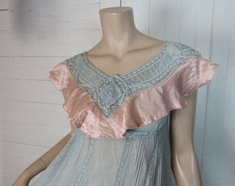 30s Dress in Blue Lace & Pink Satin- 1930s Empire Waist Dress OR Nighty- Petite- Boho / Hippie / Festival