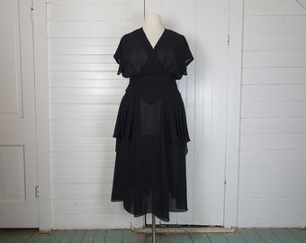 90s Layered Cocktail Dress in Black Chiffon- 1990s Plus Size- Peplum