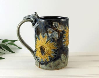 Ceramic Mug - Handmade Coffee Cup - Yellow Sunflowers - Blue Pottery Mug - Butterflies - Frog Mug - Gift for Her - Tea Lovers Gift - 379