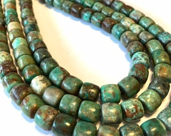 REAL TURQUOISE barrel shaped beads full 15 inch long strand great color great deal