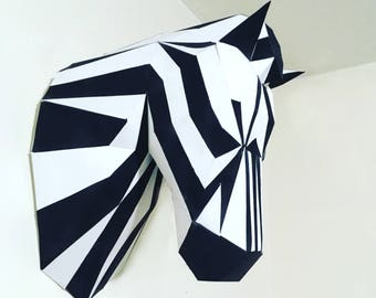 ZEBRA papercraft. You get a PDF digital file templates and instructions for this DIY (do it yourself) modern paper sculpture.