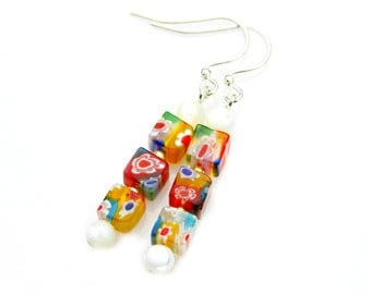 SUMMER SALE Millefiori Earrings Venetian Glass Murano Colorful Dangles Mother Of Pearl Beads High Fashion Classic Petite Everyday Style