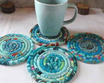 Turquoise Bohemian Coiled Coasters - Set of 4 - Handmade by Me