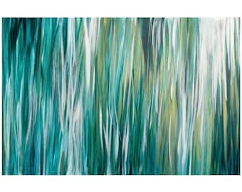 Large Abstract Painting, Acrylic 24x36 Canvas Wall Art, Contemporary Beach Home Decor, teal turquoise green gold white, reflections