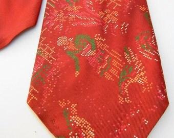 """Vintage 1940's Mens necktie Beau Brummel """" Petit Point Paints- Exclusive Cravating"""" woman feeding chickens design- Paprika red"""