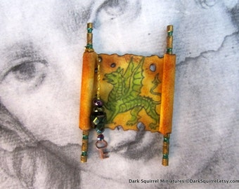 Dragon Scroll dollhouse miniature, wizard, medieval 1/12 scale