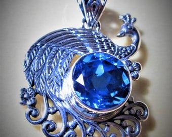 Brazilian Blue QuartzSterling Silver Peacock Pendant  6.15 Cts.