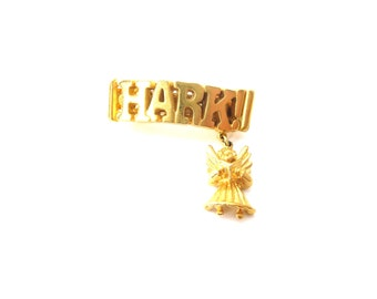 Vintage Hark the Herald Angels Sing Gold Tone Metal 'Hark' Hair Barrette / Hair Clip with Dangling Gold Tone Singing Angel Charm