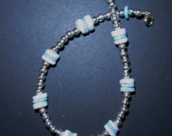Puka and Silver Bead Bracelet for Wrist or Ankle