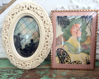 Antique Vintage lot 2 Reverse Painted Silhouette Pictures Convex Bubble Glass