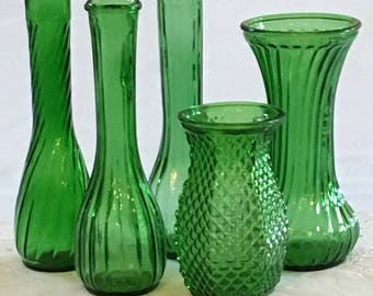 Green Vase Assortment,Bud Vases, Special Occasion, Hoosier Ribbed Vase, Hoosier Diamond Point Vase, Wedding Decor, Emerald Green Vases