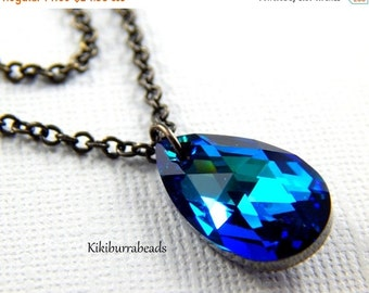 Christmas Sale Swarovski Crystal Bermuda Blue Double Strand Necklace