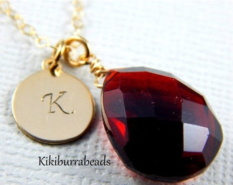 Christmas Sale Garnet Necklace, January Birthstone Necklace, Personalized Initial Necklace