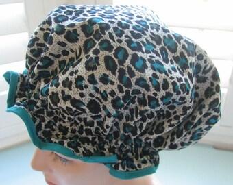 Shower cap Australian Handmade Waterproof beautifully made Turquoise leopard print
