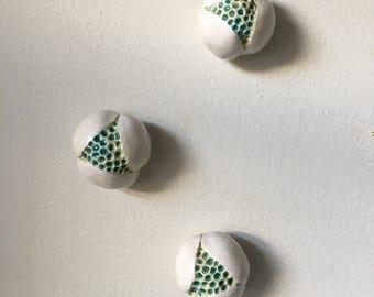 Three White Ceramic Poppy Bloom Wall Art Pods
