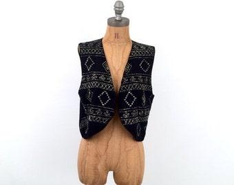 SALE vintage SHIMMER beaded SILVER + Black vest // one size