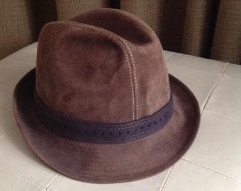 Vintage Suede Fedora Hat Brown Leather Mens Large Size 59