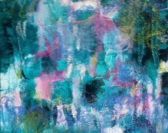 ON SALE ! Paradise Rocks - a mixed media original artwork  on canvas. In blues, purples, jade green and pinks