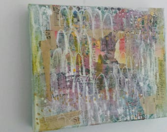 ON SALE !- Castles in the Sky - Abstract mixed media on canvas