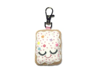 Pop Tart Keychain - Cute Bag Charm - Cute Keyring  - Toaster Pastry Charm -  Bag Charm - Junk Food Gifts - BFF Gifts