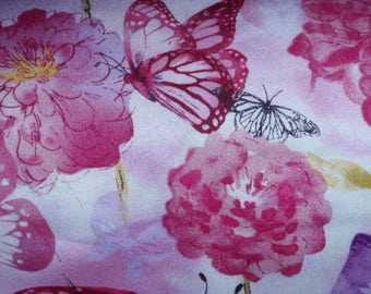 Blooming Butterflies Print Fabric 100% Cotton  Sold by the 1/2  Yard