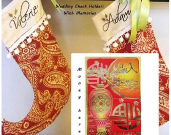 Custom Wedding Check Holder Christmas Stockings - Elf Style - Hand Embroidered with Names on Red and White Paisley