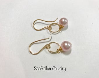 Light pink Simple Gold Plated Earrings handmade, bridal party gifts , wedding, beach wedding , anniversary, birthdays , Mother's Day gift
