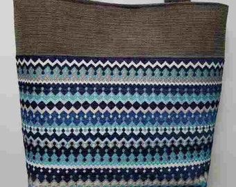 Blue and Gray Striped purse