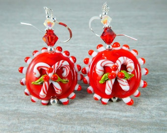 Candy Cane Dangle Earrings, Christmas Earrings, Peppermint Earrings, Winter Earrings, Holiday Jewelry, Whimsical Red White Lampwork Earrings
