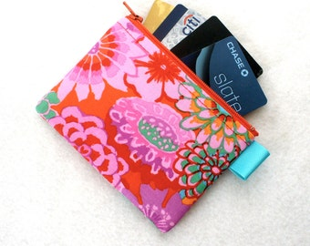 Kaffe Fasset Fabric Zippered Credit Card Case Womens Card Holder Coin Purse Wallet Business Card Case Asian Circles Floral Red Purple MTO