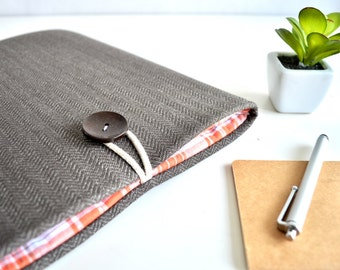 SALE - Surface Pro 3/4 Case Laptop Sleeve - Brown Herringbone + Orange Plaid