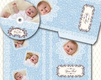 Lace on Blue - CD DVD Cases and Label -  PSD Templates