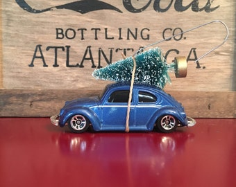 VW Bug Carrying Christmas Tree Ornament