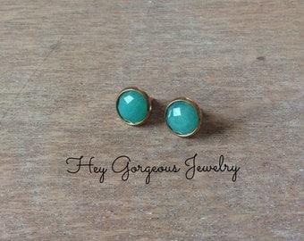 Green jade stud earrings-gemstone studs-stud earrings-valentines gift