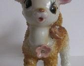 Vintage Porcelain Salt Glazed Sugared Baby Deer Figurine Made in Japan Flowers At Neckline BIG Doe Eyes
