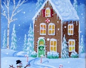 Iced Gingerbread ORIGINAL Folk Art Painting FREE Shipping