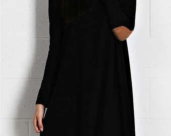 Black Tunic Dress with suede elbow patches, Ships same day