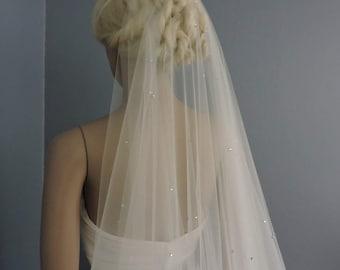 Bling Lovers Bridal Drop Veil Beaded with Rhinestones