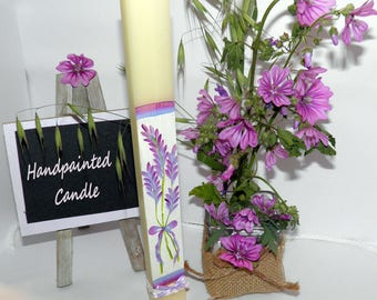 Handpainted Candle - Long Parallelogram Candle for Home Decoration - Lavender flowers painted on a long candle - Gift Wrap