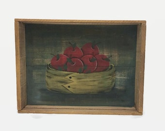 Rustic Wooden Tray - Handpainted Apples - Serving Tray