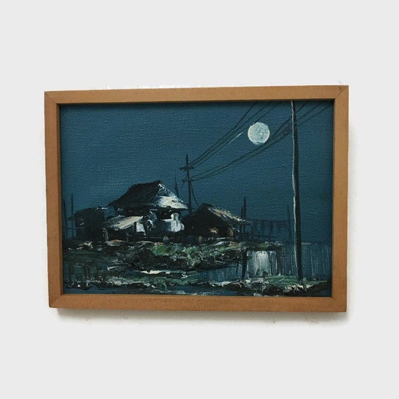 Vintage Small Oil Painting - House at Night with Moon - Signed and Framed