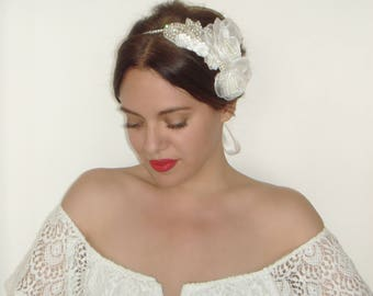 Wedding Headpiece, Flower Headband, Bridal Headband, Crystal, Bridal Headpiece, Jewel Headband, Statement Headband, Silver, FOREVER + EVER