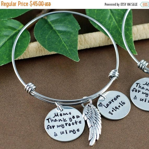 15% OFF SALE Mom Thank You for my Roots and Wings, Bridal Gift for mom, Bracelet for Mom, Personalized Bracelet for Mom, Hand Stamped Bracel