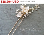 35% OFF - BLACK FRIDAY Boho Gold Silver Pearl Hair Pin, Pearl Crystal Floral Hair Pin with leaves, Wedding Gold hair vine, Boho Headpiece...