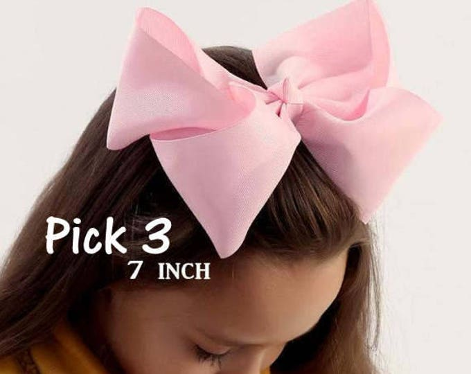 Big Bows, Jumbo Hair Bow, Pick 3, Lot Set of 3, Southern Style Bow, 6 7 or 8 Inch Bows, Texas Sized Bows, Girls Jumbo Bows, X-tra Large, SSB