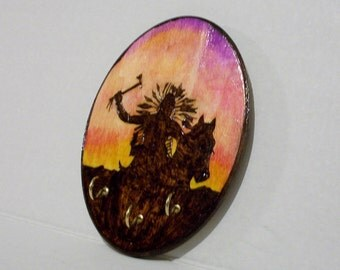 Indian warrior native American wood burning pyrography key rack 3 hooks sunset silhouette 5x7 inches with hanger attached