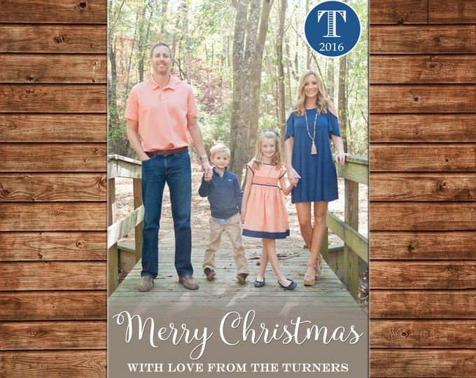 Photo Picture Christmas Holiday Card Modern Simple Monogram Glow - Digital File