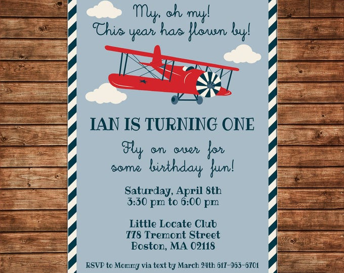 Boy Birthday Party Baby Shower First One Airplane Vintage Antique Plane Invitation Invitation - DIGITAL FILE