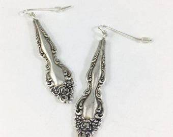 Cutlery jewelry, Silverware Jewelry, Fork Jewelry, Flower Earrings, Wife Gift, Spoon Earrings, Spoon Jewelry, Spoon Handle Earrings