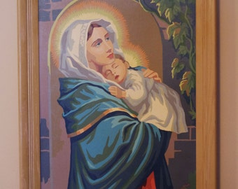 Vintage 1960s Framed PBN Paint by Number Craftint Madonna and Child, Mary, Baby Jesus 18 X 24